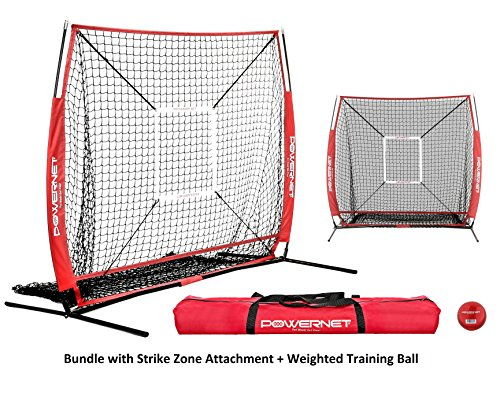 PowerNet Baseball and Softball Practice Net 5 x 5 (Bundle with Strike Zone and Training Ball + (Red)