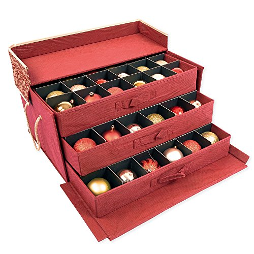 Red and Gold 3 Tray Ornament Storage Box with Dividers and snowflake pattern. Store up to 72 3 inch Ornaments