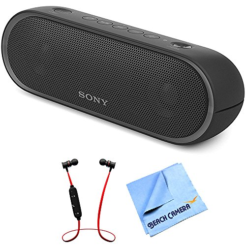 Sony XB20 Portable Wireless Speaker with Bluetooth Black 2017 model (SRSXB20/BLK) with Xtreme Fusion Bluetooth Headphones Black/Red & 1 Piece...