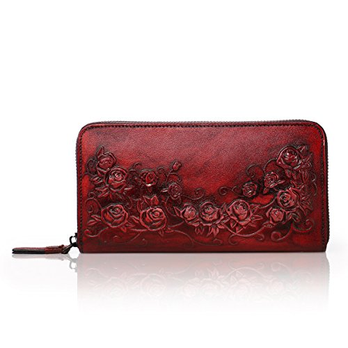 APHISON Designer Women's Leather Zipper Wallets Header Layer Cowhide Embossed Card Clutch Holder Purse (red) from APHISON