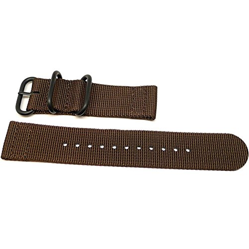 DaLuca Two Piece Ballistic Nylon NATO Watch Strap - Brown (PVD Buckle) : 18mm