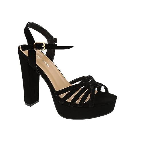 6c273eae194 Amazon.com | Top Moda Toby-1 Women's High Heel Sandal (8.5, Black ...