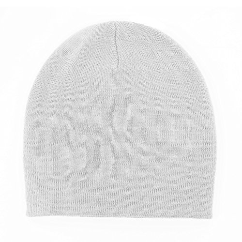 Queenly Unisex Solid Color Rib Knit Hat, Stretch Slouchy Beanie Skull Cap, White (Hip Hop Dance Costumes For Teenagers)