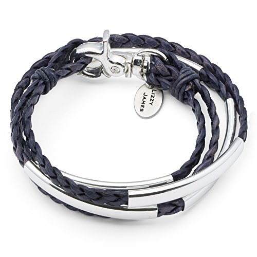 Mini Addison Wrap Bracelet Silverplate in Natural Pacific Dark Blue Braided Leather - Large Silverplate