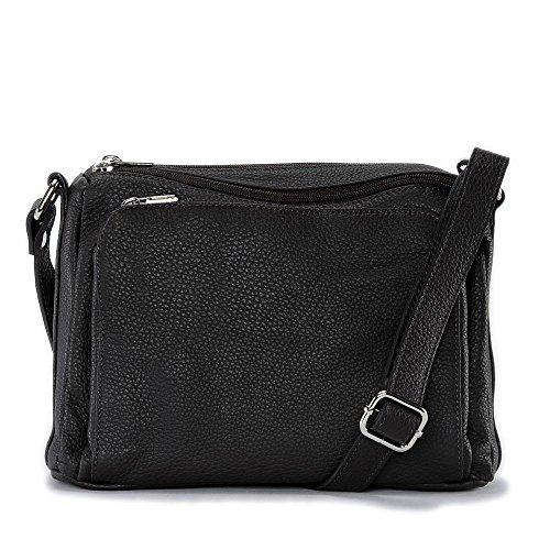 OH MY BAG Sac à main bandoulière en cuir femme - Modèle Manatan Marron Fonce