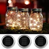 3 PACK Solar Mason Jar Lids Lights by Austral home - 10 LED Warm White Solar powered Lights Screw on Silver Lids - Decorative garden outdoor party - jars not included