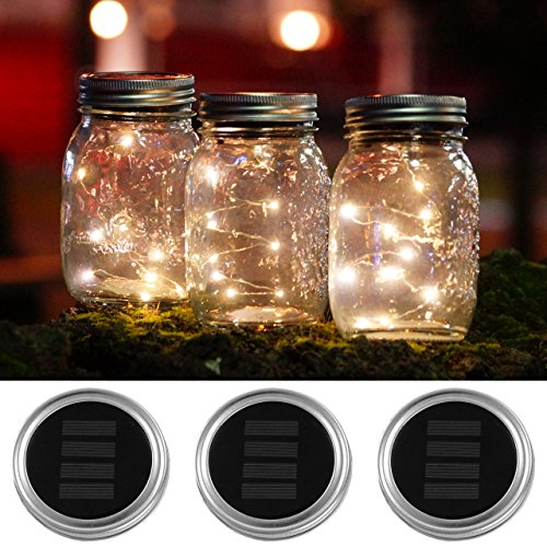3 PACK Solar Mason Jar Lids Lights by Austral home - 10 LED Warm White Solar powered Lights Screw on Silver Lids - Decorative garden outdoor party - jars not included by Austral Home