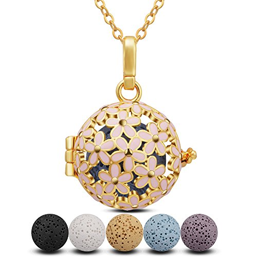 INFUSEU Lava Stone Aromatherapy Essential Oil Diffuser Locket Pendant Necklace with 6 PCS Lava Rock Beads for Women Jewelry Set (Pink Daisy Flower)