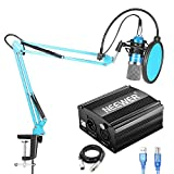 Neewer NW-700 Condenser Microphone Kit with USB 48V Phantom Power Supply, NW-35 Suspension Scissor Arm Stand, Shock Mount(Black), Pop Filter for Home Studio Recording Broadcast YouTube Live(Blue)