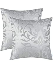 Set van 2 CaliTime Sierkussenhoezen Gevallen voor Bank Sofa Woondecoratie Vintage Floral Two Tone Contrast Both Sides 50cm x 50cm Silver Grey