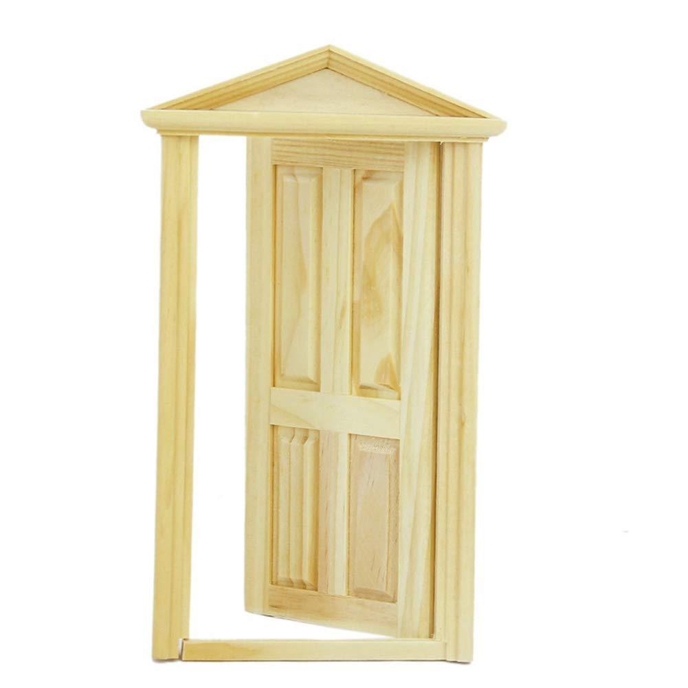 mxdmai 9 x 17, 5 cm Miniatur Tür Spielzeug Außen Massivholz-Tür für 1:12 Puppenhaus gelb