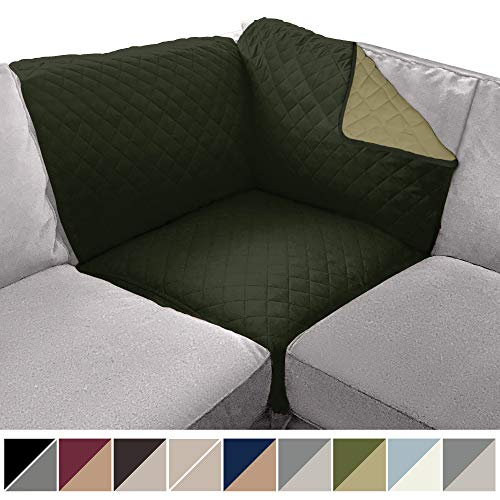 Sofa Shield Original Patent Pending Sectional Corner, 30 Inchx30 Inch Slipcover, 2 Inch Strap Hook, Washable Furniture Protector, Slip Cover for Dogs, Kids Pet, Sectional Corner, Hunter Green -