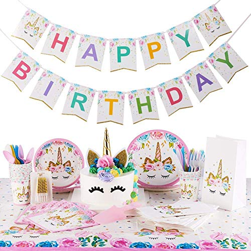(Unicorn Party Supplies Kit | Serves 16 | Unicorn Birthday Party Supplies | Happy Birthday Banner | Cake Topper | Cake Cutter | Candles | Goody Bags | Napkins | Plates | Cups | Utensils | Table Cloth (Renewed) )