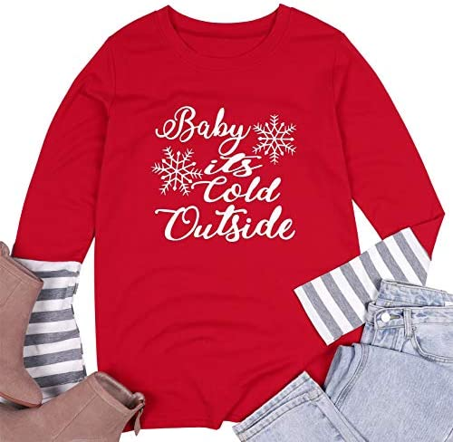 Plus Size Baby It's Cold Outside Christmas T Shirt Women's Plaid Splicing Long Raglan Tops Blouses