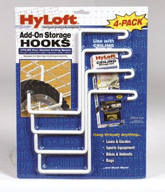 HyLoft Add-On Storage Hook Accessory for HyLoft Model-540 Ceiling Rack, 4-Pack