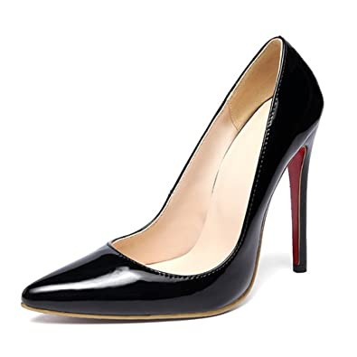 TIYUXUAN Stiletto High HeelsDamenschuhe PumpsLack PumpsHochzeitsschuhe Damen schwarz 25.5cm