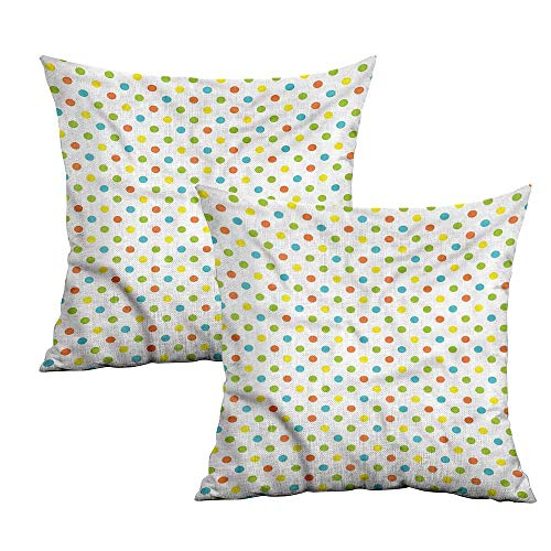 Khaki home Colorful Square Personalized Pillowcase Polka Dots Pattern Square Slip Pillowcase Cushion Cases Pillowcases for Sofa Bedroom Car W 24
