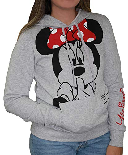 Disney Junior Minnie Mouse Silent Hoodie Fleece Pullover Heathered Grey Large (Disney Jackets)