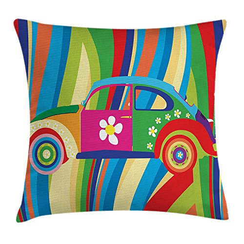 vhg8dweh Modern Decor Throw Pillow Cushion Cover, Retro Vector Hippie Style Classic Car with Daisy and Bold Stripes Artwork, Decorative Square Accent Pillow Case, 18 X 18 Inches, Multicolor