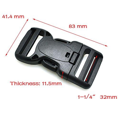 10pcs Plastic Dual Adjustable & Security Double Lock Buckle for Tactical Belts Black (Webbing ()