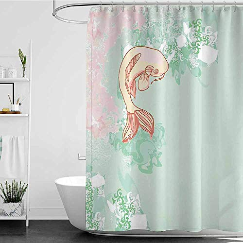 Tim1Beve Bathroom Curtains,Japanese Koi Longfin Gurnard Fish Swimming Pale Complex Customized Sea Backdrop Image,Shower Hooks are Included,W48x84L Pale Green Pink