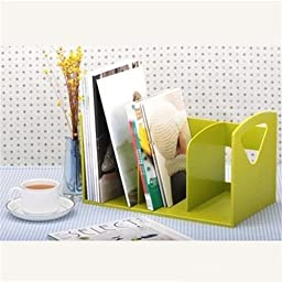 AUCH DIY Candy Color Fashion/Creative Simple and Practical Large Capacity Bookends /Desktop Bookends/ Bookshelf/Holder/Organizer/ CD Storage Rack,Green