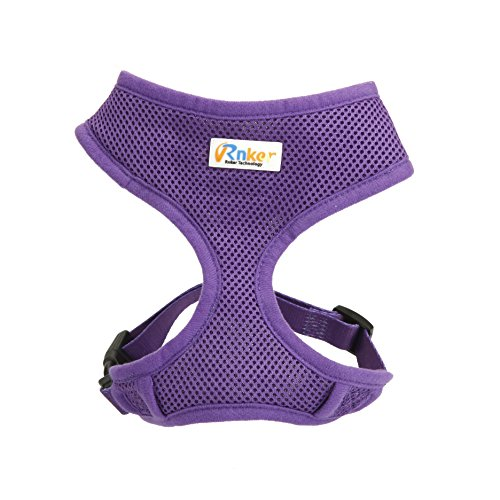 Dog Puppy Guardian Safety Vest (Rnker Soft Mesh Dog Harnesses Padded Vest No Pull Comfort Double Layer Harness for Pet Puppy (Small, Purple))