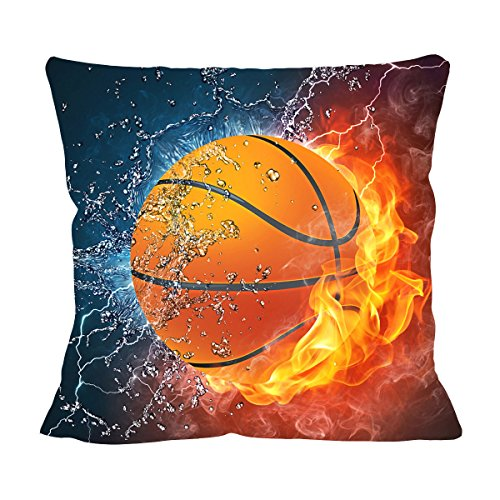 VIPbuy Home Décor Super Soft Short Plush Square Throw Pillow Case Sofa Cushion Cover with Invisible Zipper- 18 x 18 inches -No Insert- Basketball Theme