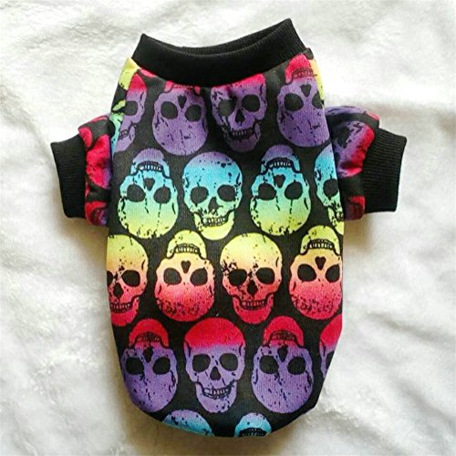 LXLP Dog Clothes,Halloween Pet Puppy Small Dog Cat Ghost Costumes Skull Head Vest T-Shirt Apparel for Dogs-10 size (Color Ghosts, XL)]()
