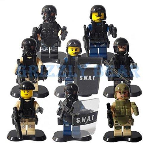 SWAT Army Police Officer FBI action figure plastic blocks set model&building classic toys for chilidren 8pcs/lot