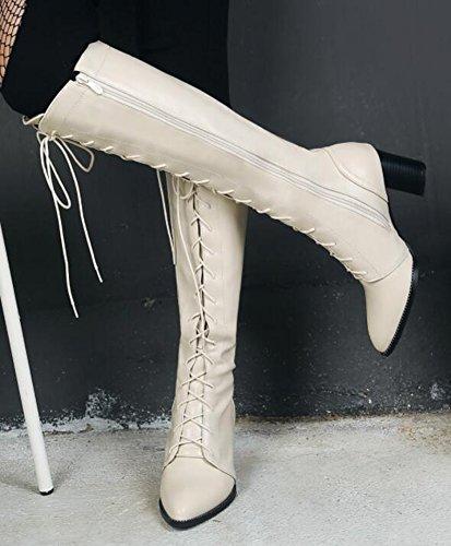 Idifu Womens Confortable Mi Chunky Talons Lacets Jusquà Glissière Latérale Genou Haute Équitation Bottes Beige