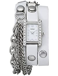 XOXO Women's XO5627 White Band with Chains Accent Double Wrap Watch