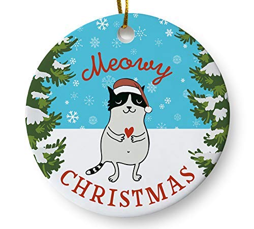 Meowy Christmas Ornament, Funny Cat Holiday Ornament, Cat Lover Christmas Gift, 3