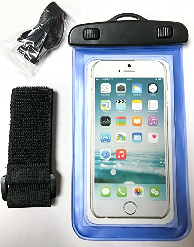 YogaCase Dry Bag Universal Waterproof Case, Pouch Works With Apple iPhone 7, 7 Plus, 6S, 6,6S Plus, 5S, 5c Samsung Galaxy S7, S6 Note 5 4, HTC LG Sony Nokia Motorola CellPhone (Blue)