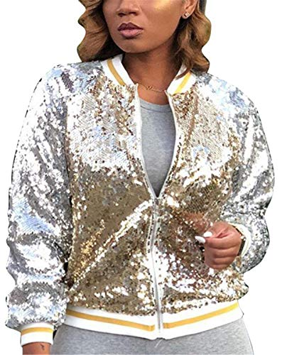 Women's Spring Autumn Fashion Zip Up Sequins Biker Bomber Jacket Baseball Jacket Casual Short Coat Outwear Party Club Stage Dress Gold L