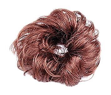 eDealMax señoras de Pelo sintético/onda rizada postizo/Bollo / peluca, Brown,