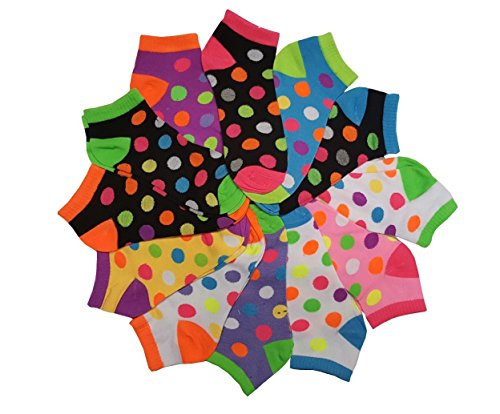 (Differenttouch 12 Pairs Pack Women Low Cut Colorful Fancy Design Ankle Socks (9-11, Neon Polka Dot 103))