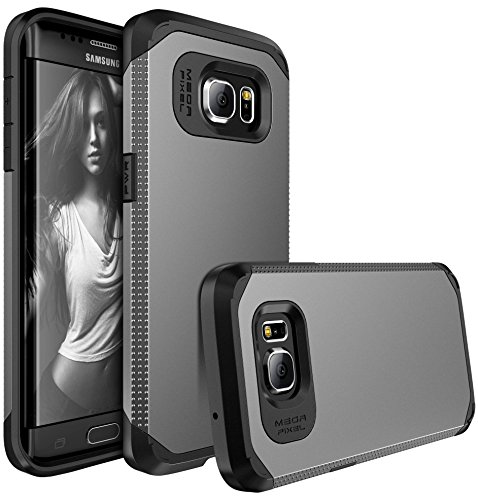 Galaxy S7 Edge Case, E LV S7 Edge Case (SHOCK PROOF DEFENDER) Slim Case Cover - IMPACT RESISTANT Armor Hybrid Protection for Samsung Galaxy S7 Edge - [GUNMETAL / BLACK]