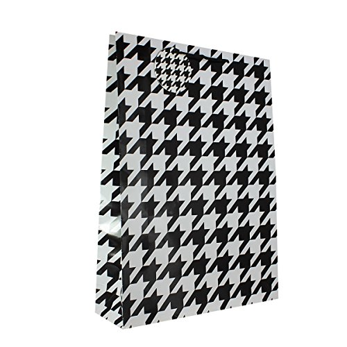 12-PC Houndstooth Color Gift Bags, Gloss Laminated, Jumbo (Houndstooth Large Color)