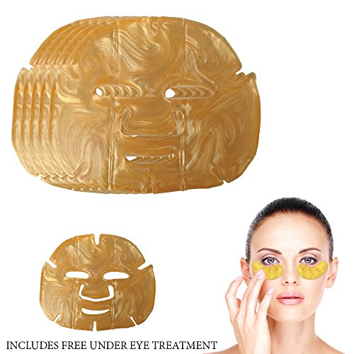 Price comparison product image LifeShop Gold Collagen Anti Aging Hyaluronic Full Mask - Anti Aging, Collagen Boosting, Moisturizing Therapeutic Skin Therapy Kit (5 Pack)