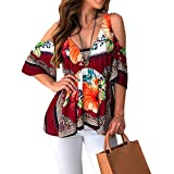 Pocciol_Womens Blouse Women's Plus Size Floral Printing Short Ruffle Sleeve Top Casual T Shirts