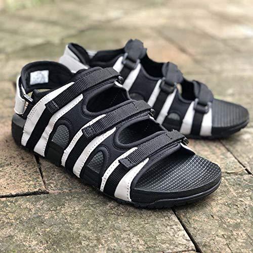 Sandali estate a duplice Nero tendenza e esterno indossare ciabattine in uomo uso da moda sandali grigio antiscivolo pelle spiaggia per WFL da dqt8wId