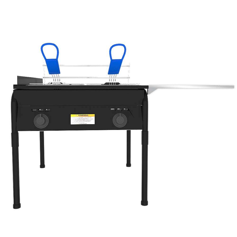 Lodhi's Heavy Duty Taco Cart Two Tank Double Deep Fryer Compatible with Propane Gas Tanks, with 2 Baskets & Stainless Steel Oil Tank by Lodhi's (Image #2)