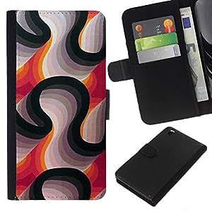 WINCASE Cuadro Funda Voltear Cuero Ranura Tarjetas TPU Carcasas Protectora Cover Case Para HTC DESIRE 816 - líneas abstractas púrpura negro blanco
