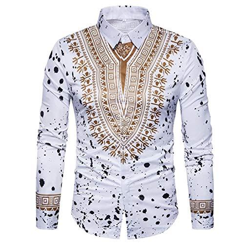 Sumen Men Dress Shirts,African Print Long Sleeves Slim Fit Dashiki Shirt -