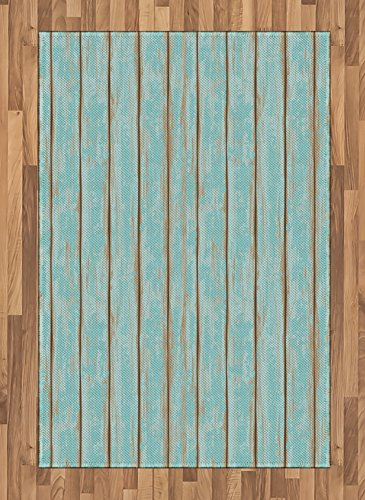 (Lunarable Wood Print Area Rug, Old Fashioned Weathered Rustic Planks Summer Cottage Beach Coastal Theme, Flat Woven Accent Rug for Living Room Bedroom Dining Room, 4 X 5.7 FT, Pale Blue Tan)