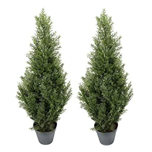 TWO Pre-potted 3' Artificial Cedar Topiary Outdoor Indoor Tree 51