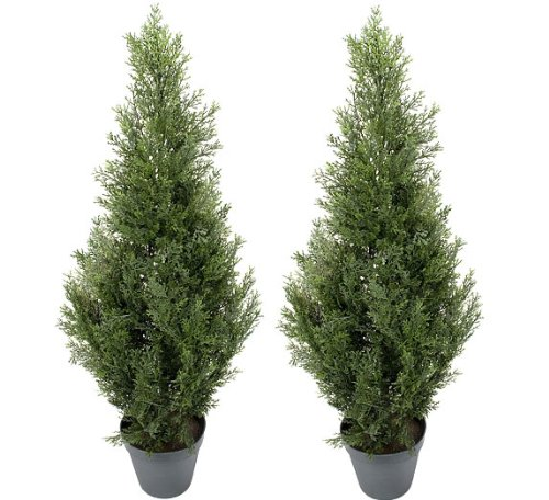 TWO Pre-potted 3' Artificial Cedar Topiary Outdoor Indoor Tree