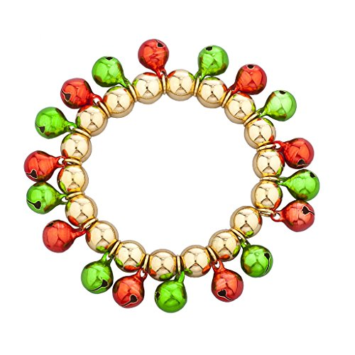 Lux Accessories Goldtone Multi Color Christmas Jingle Bells Stretch Bracelet