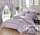Perfect Home 20 Piece Amari Complete Bed room in a bag. Comforter Set, Sheets Set, window treatments included Queen Lavender